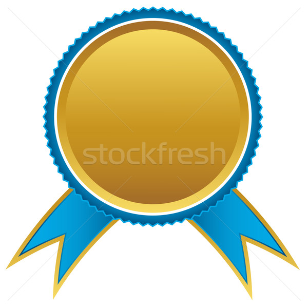 Blue and gold ribbons award, vector illustration Stock photo © ylivdesign