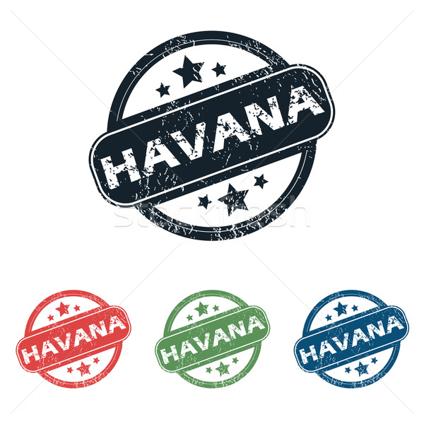 Round Havana city stamp set Stock photo © ylivdesign
