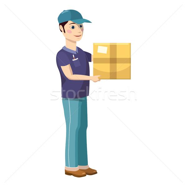 Futár tart hordoz ikon rajz stílus Stock fotó © ylivdesign