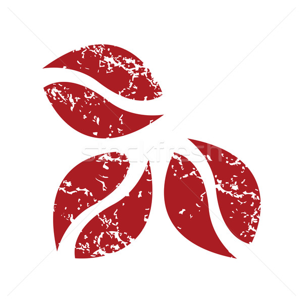 Rood grunge koffiebonen logo witte voedsel Stockfoto © ylivdesign