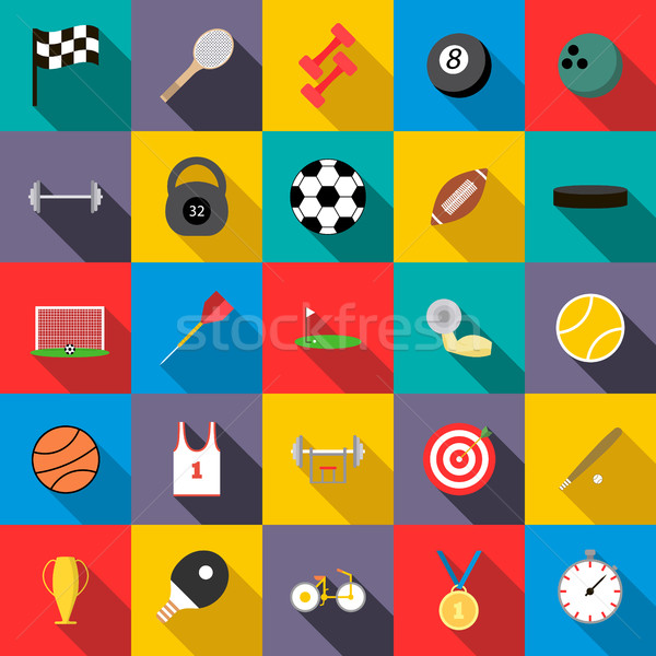 спортивных набор иконки стиль спорт баскетбол Сток-фото © ylivdesign