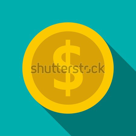Gold coin with dollar sign icon, flat style Stock photo © ylivdesign