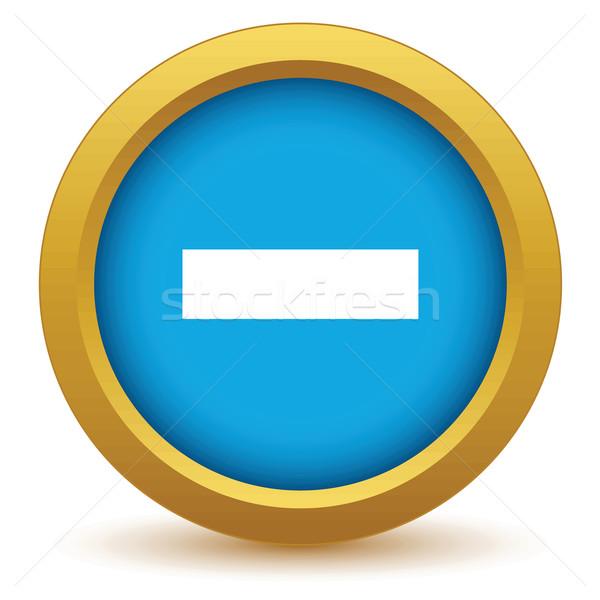 Goud minus icon witte knop stijl Stockfoto © ylivdesign