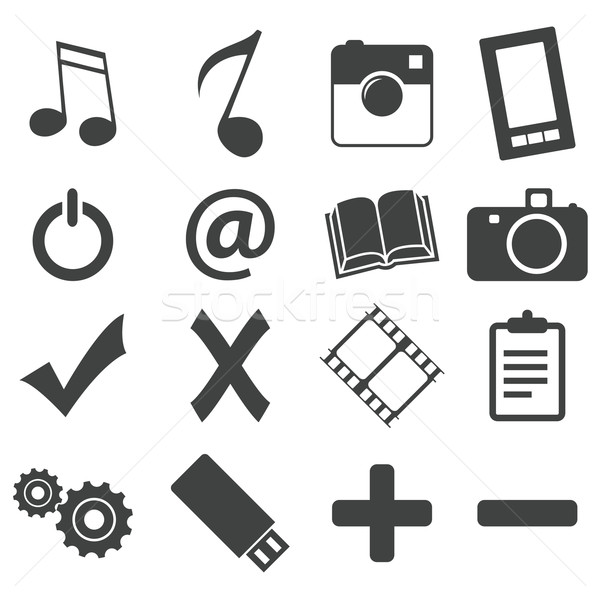 Simple black icon set 5 Stock photo © ylivdesign