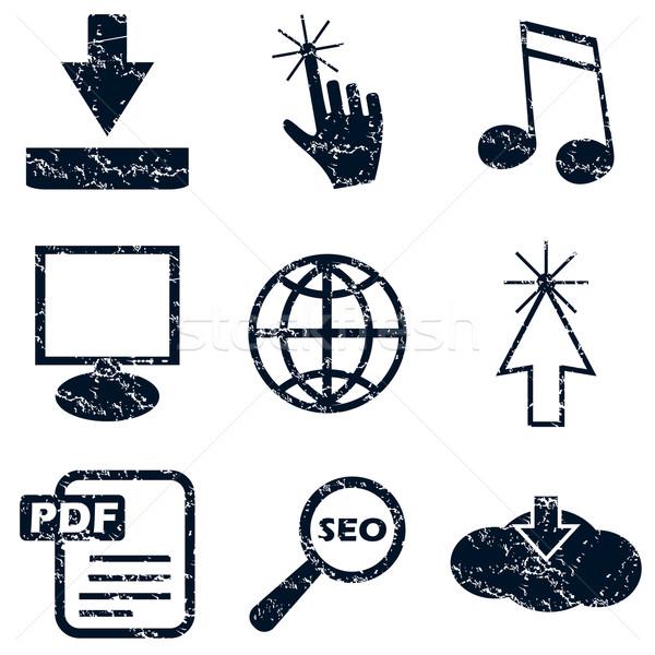 Интернет иконы набор Гранж черно белые интернет контроля Сток-фото © ylivdesign