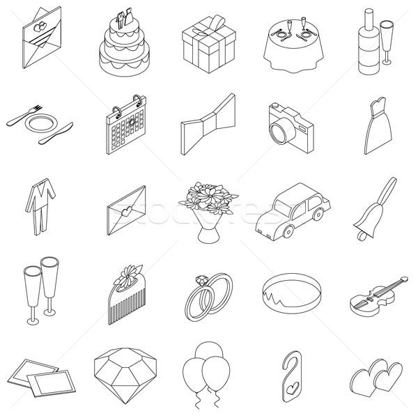 Stock photo: Wedding icons set, isometric 3d style