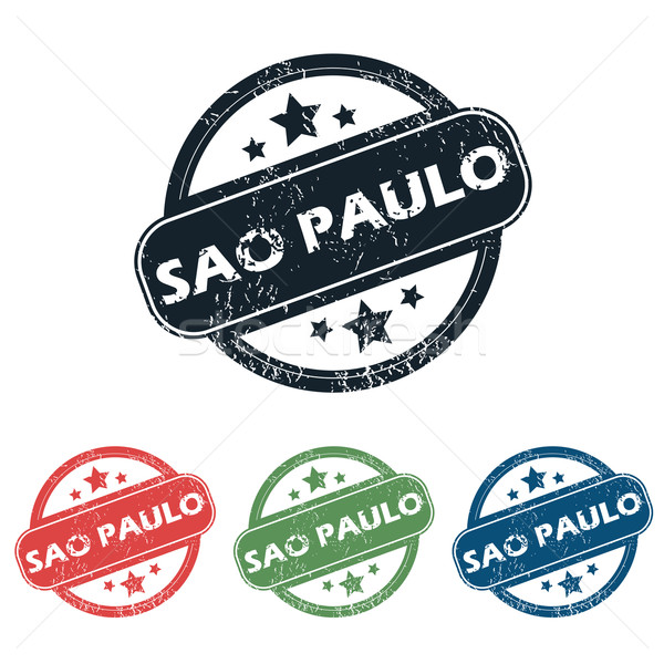 Sao Paulo bélyeg szett négy bélyegek név Stock fotó © ylivdesign