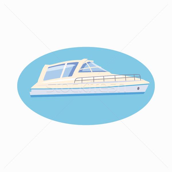 Jacht ikon rajz stílus fehér izolált Stock fotó © ylivdesign