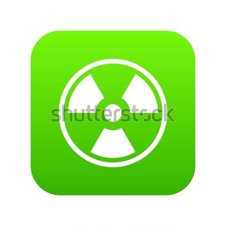 Nükleer ikon yeşil beyaz turuncu imzalamak Stok fotoğraf © ylivdesign