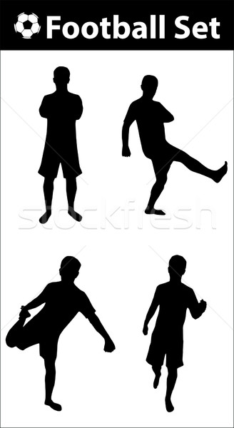 Football silhouette set Stock photo © ylivdesign