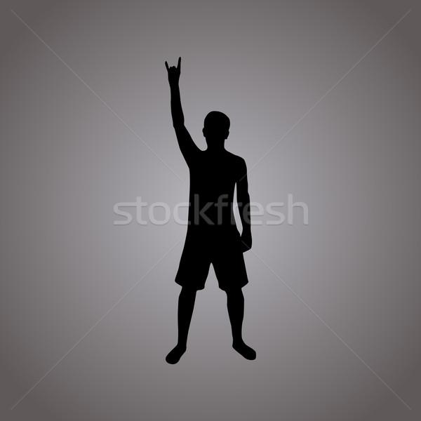 Rock silueta ilustración hombre cuerno gesto Foto stock © ylivdesign