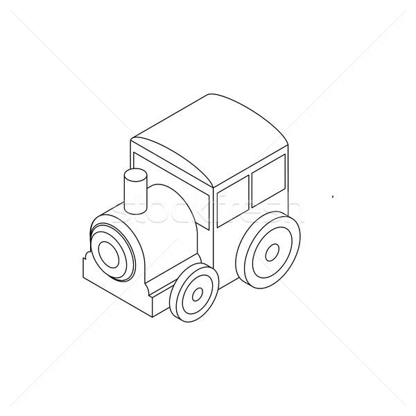 Stockfoto: Speelgoed · locomotief · icon · isometrische · 3D · stijl