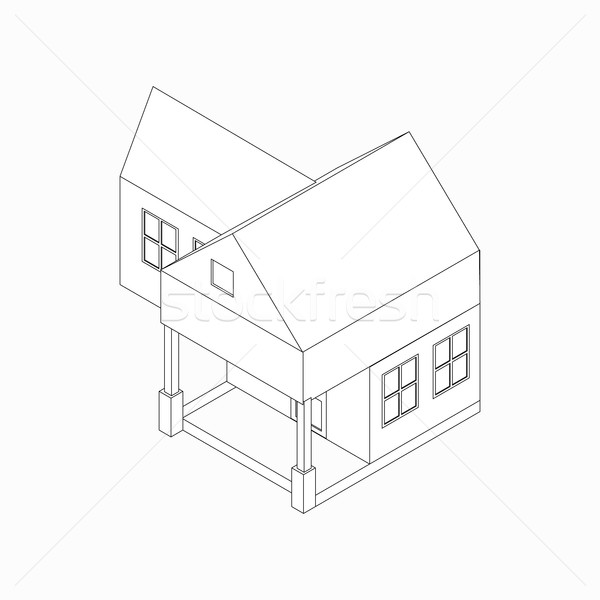 Maison individuelle icône isométrique 3D style porche Photo stock © ylivdesign