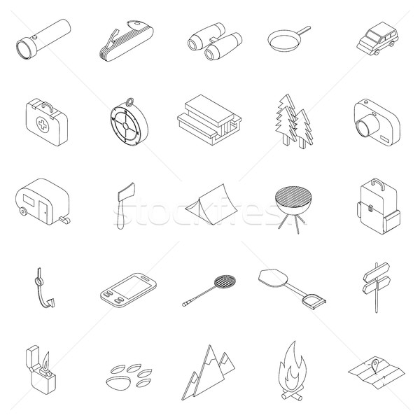 Kemping izometryczny 3D stylu odizolowany Zdjęcia stock © ylivdesign