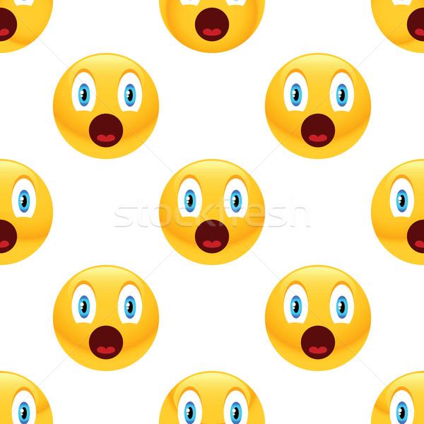 Meglepődött emotikon minta vektor internet kommunikáció Stock fotó © ylivdesign