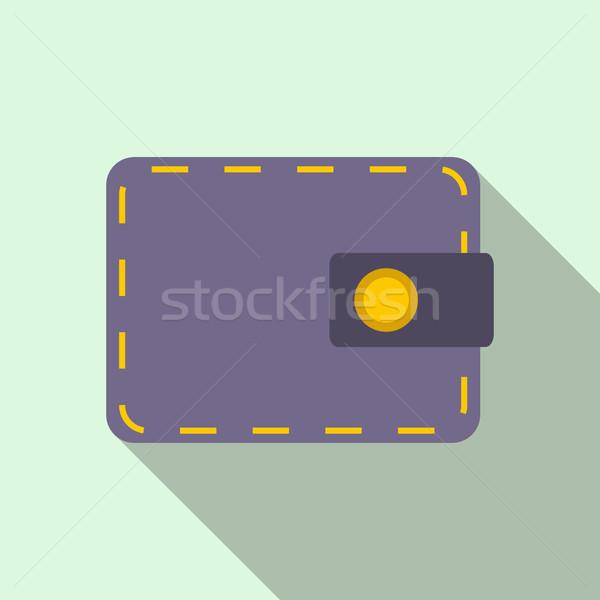 Cüzdan ikon stil açık mavi arka plan alışveriş Stok fotoğraf © ylivdesign