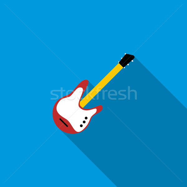 Red electric guitar icon, flat style Stock photo © ylivdesign