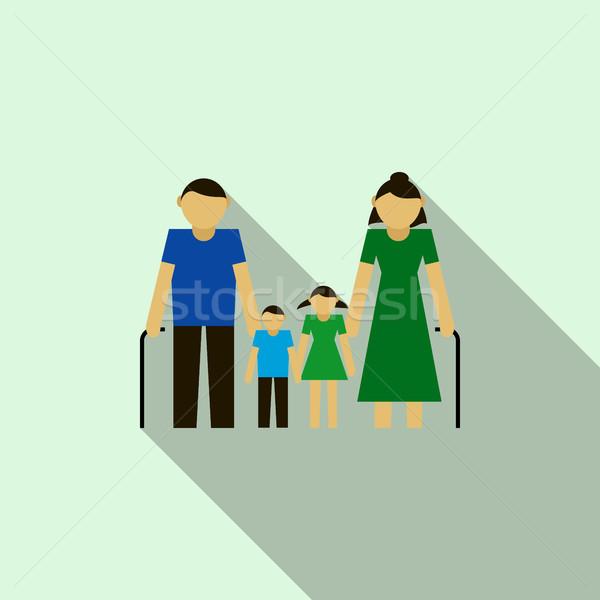 Grootouders kleinkinderen icon stijl lichtblauw glimlach Stockfoto © ylivdesign