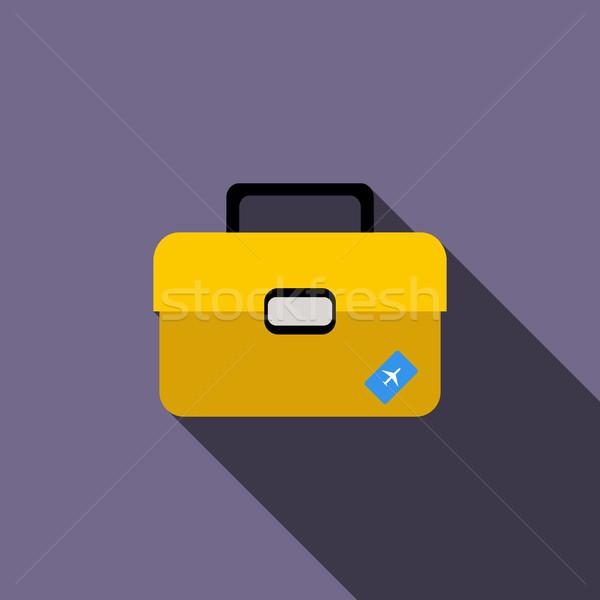 ブリーフケース 旅行 アイコン スタイル 長い 影 ストックフォト © ylivdesign