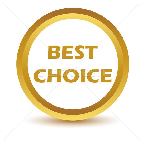 Altın en İyi seçim ikon beyaz düğme www Stok fotoğraf © ylivdesign