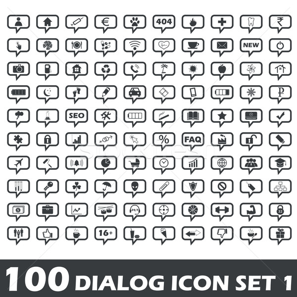 Dialog zestaw 100 ikona inny Zdjęcia stock © ylivdesign