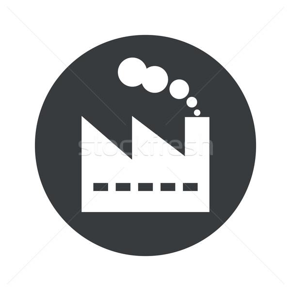 Monochrome round factory icon Stock photo © ylivdesign