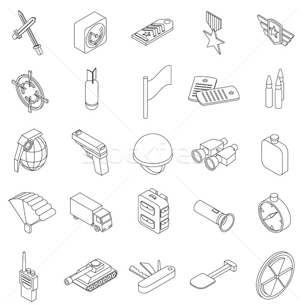 War set icons Stock photo © ylivdesign