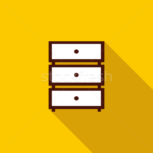 Chest of drawers icon, flat style Stock photo © ylivdesign