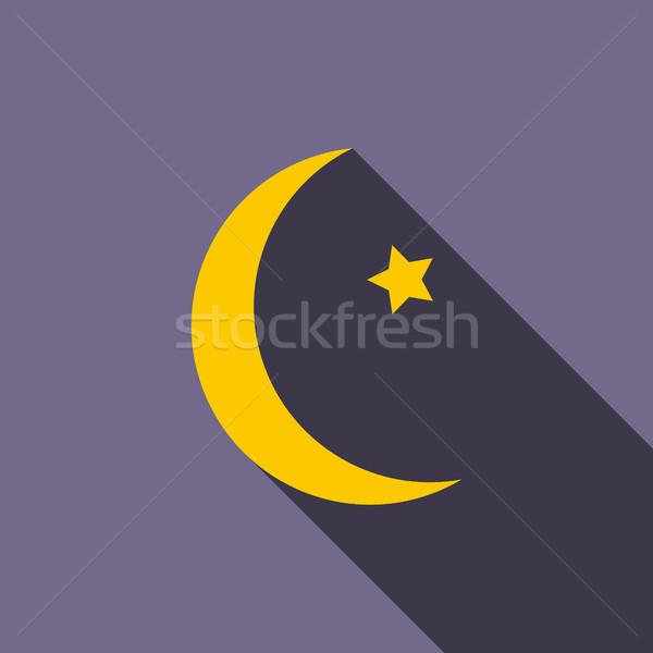 полумесяц звездой икона стиль фиолетовый аннотация Сток-фото © ylivdesign