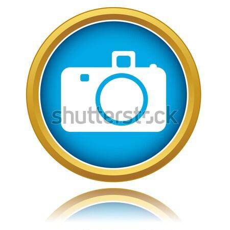 Mavi kamera ikon beyaz düğme www Stok fotoğraf © ylivdesign