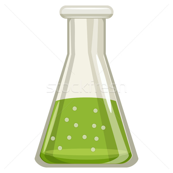 Chemische laboratorium transparant groene vloeibare Stockfoto © ylivdesign