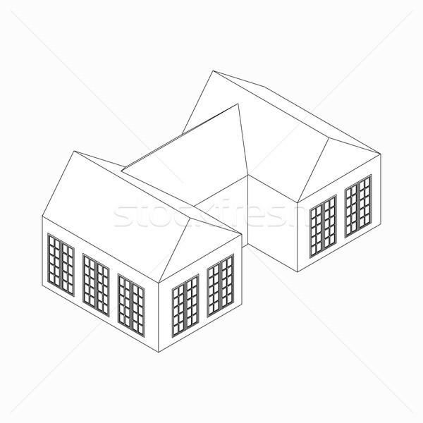 дома икона изометрический 3D стиль изолированный Сток-фото © ylivdesign