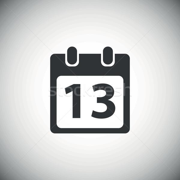 Fekete nap 13 naptár ikon oldal Stock fotó © ylivdesign