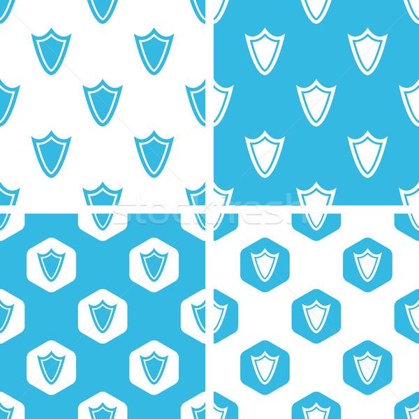 щит структур набор простой шестиугольник синий Сток-фото © ylivdesign