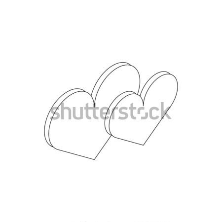 Corazón icono 3D estilo aislado Foto stock © ylivdesign