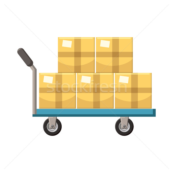 Hand cart with cardboards icon, cartoon style  Stock photo © ylivdesign