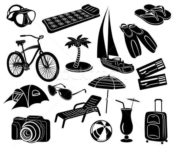 Summer icons set, simple style Stock photo © ylivdesign