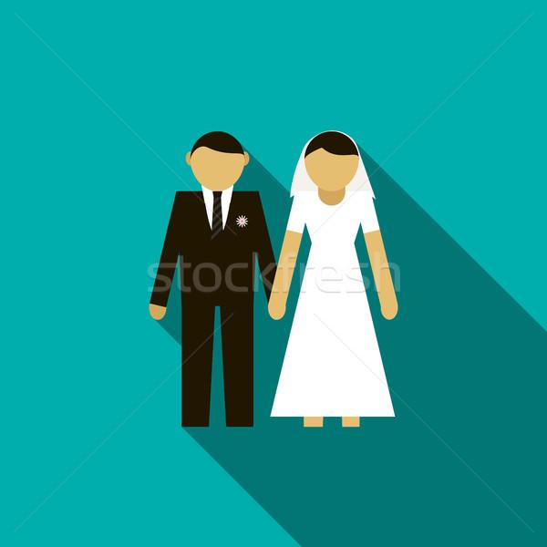 Menyasszony vőlegény ikon stílus hosszú árnyék Stock fotó © ylivdesign