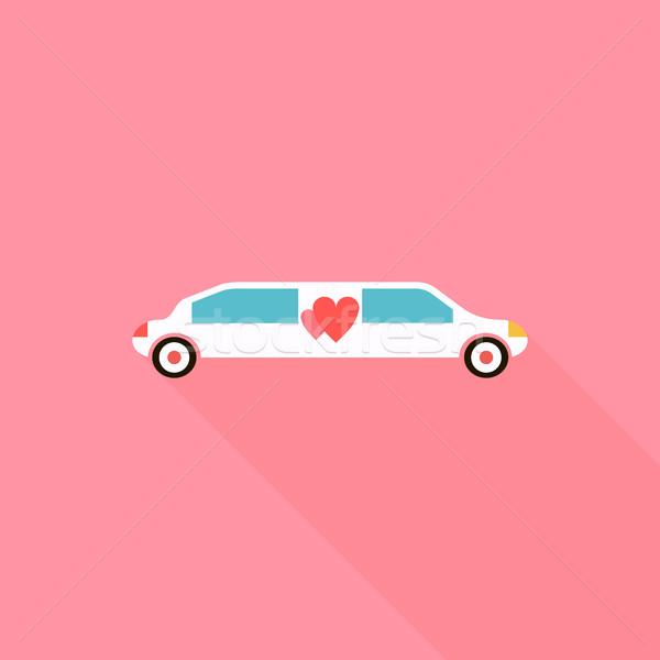 Düğün limuzin ikon stil uzun gölge Stok fotoğraf © ylivdesign