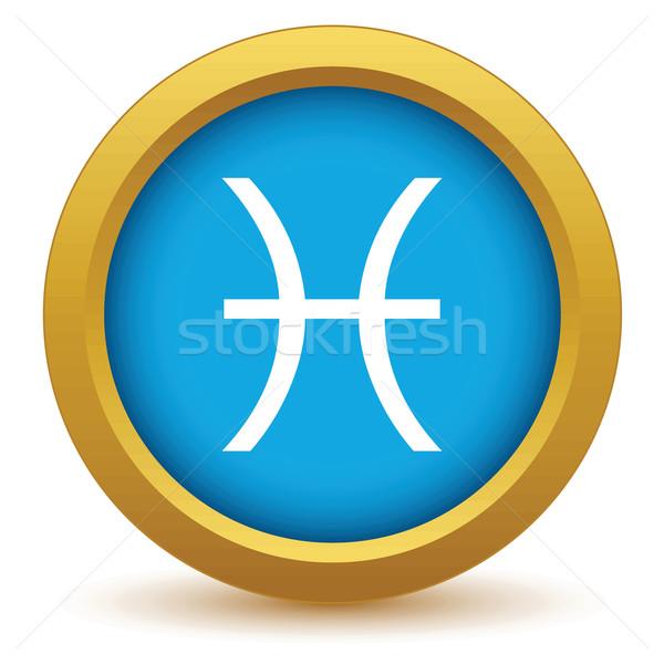 Gold Pisces icon Stock photo © ylivdesign