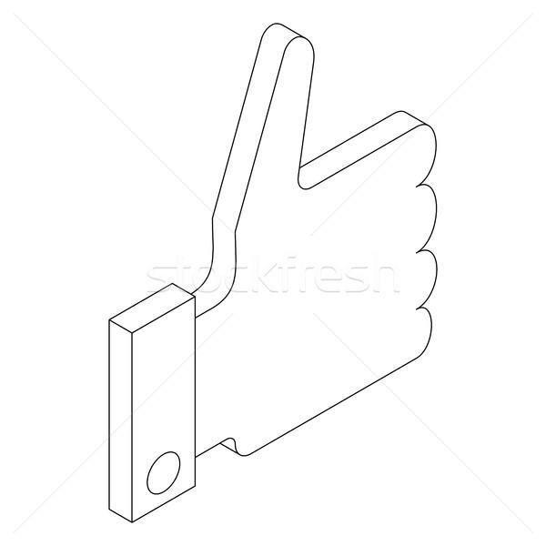 Hüvelykujj felfelé ikon izometrikus 3D stílus Stock fotó © ylivdesign