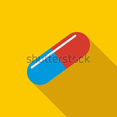 Orvosi kapszula ikon stílus citromsárga gyógyszer Stock fotó © ylivdesign