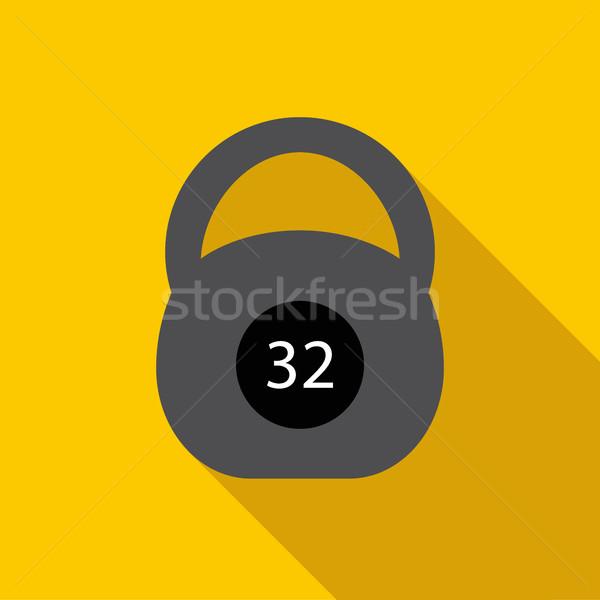 Black kettlebell icon, flat style Stock photo © ylivdesign