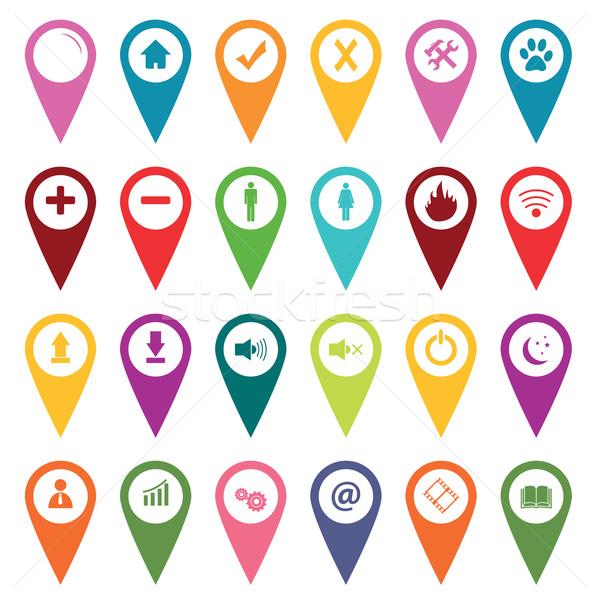 Gekleurd kaart fiche iconen Stockfoto © ylivdesign