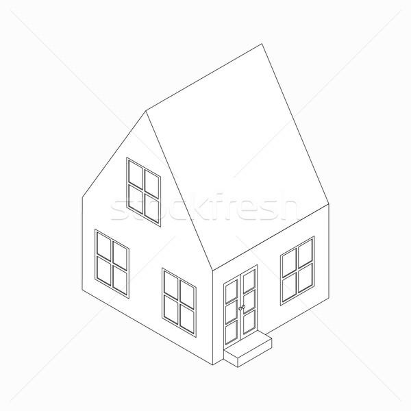 Casa de campo ícone isométrica 3D estilo telhado Foto stock © ylivdesign