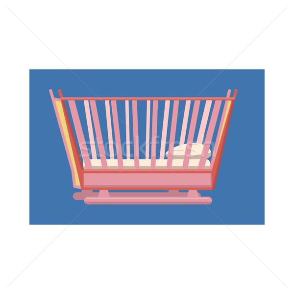 Gyermekágy ikon rajz stílus fehér család Stock fotó © ylivdesign