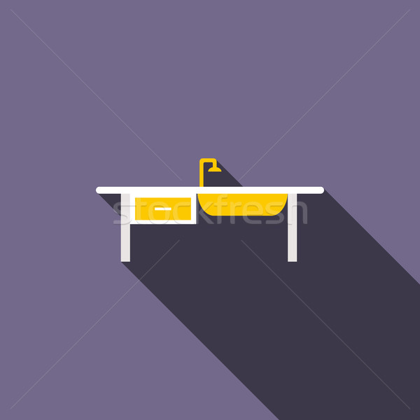 Stock photo: Kitchen sink icon, flat style
