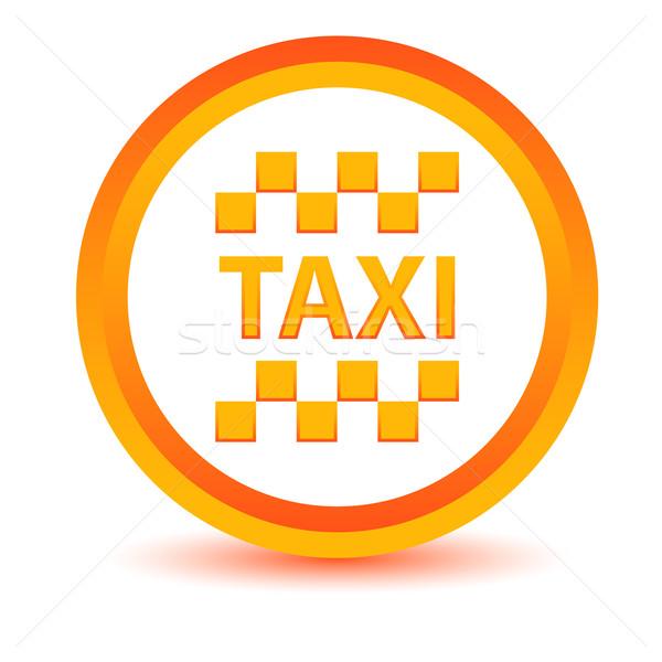 Turuncu taksi ikon beyaz hizmet düğme Stok fotoğraf © ylivdesign