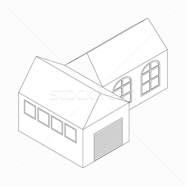 Családi ház ikon izometrikus 3D stílus garázs Stock fotó © ylivdesign