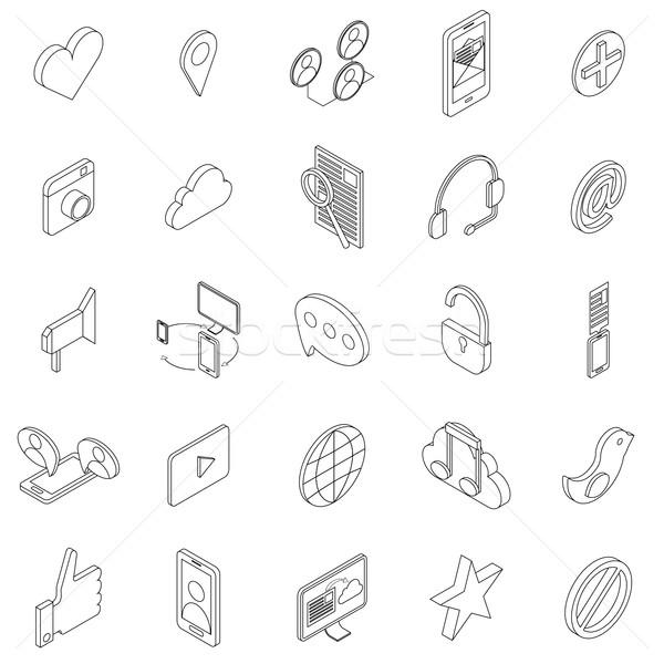 Интернет иконы набор изометрический 3D стиль белый Сток-фото © ylivdesign